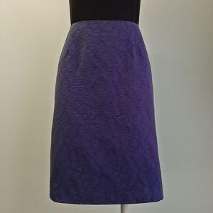 Carolina Herrera cotton jacquard navy pencil skirt
